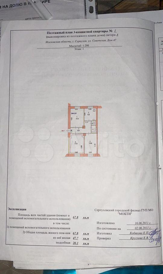 Продажа трёхкомнатной квартиры Серпухов, Советская улица 47, цена 7000000 рублей, 2021 год объявление №693238 на megabaz.ru